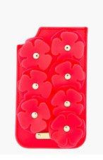 BURBERRY PRORSUM Strawberry Red Deerskin & Vinyl Floral Appliqué iPhone Case for women