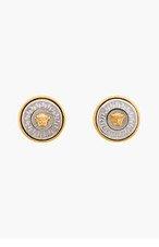 VERSACE SILVER & Gold LOGO EARRINGS for women
