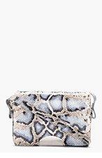 MAISON MARTIN MARGIELA Blue & Grey Python Leather Shoulder Bag for women