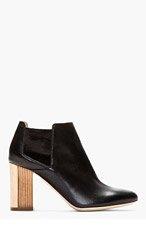 VERONIQUE BRANQUINHO Black Leather Wooden Heel Chelsea Boots for women