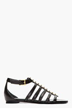 ALEXANDER MCQUEEN Black Leather Studded Cage Sandals for women