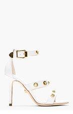 VERSACE White Leather Medusa Stud Heels for women