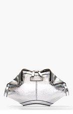 ALEXANDER MCQUEEN Silver Leather Small DE MANTA CLUTCH for women