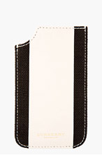 BURBERRY PRORSUM Beige Leather & Linen iPhone Case for women