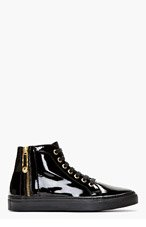 VERSUS Black Patent Leather Safety Pin High-Top Sneakers for women