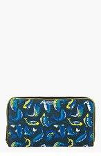 KENZO Blue & Yellow Zip Around Fish Print Wallet for women