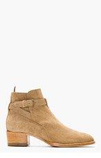 SAINT LAURENT Beige Suede Wyatt Boots for women