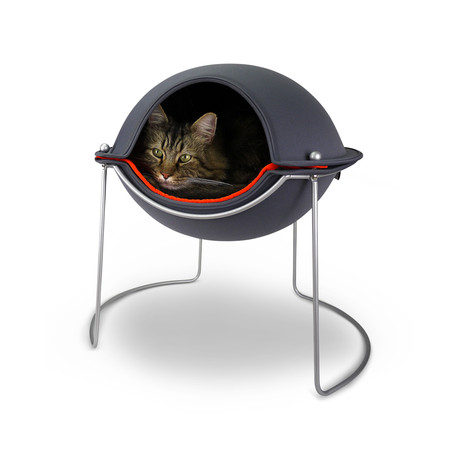 Pod Cat Bed // Grey, Orange, Silver