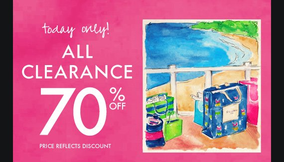today only! ALL CLEARANCE 70% OFF PRICE REFLECTS DISCOUNT