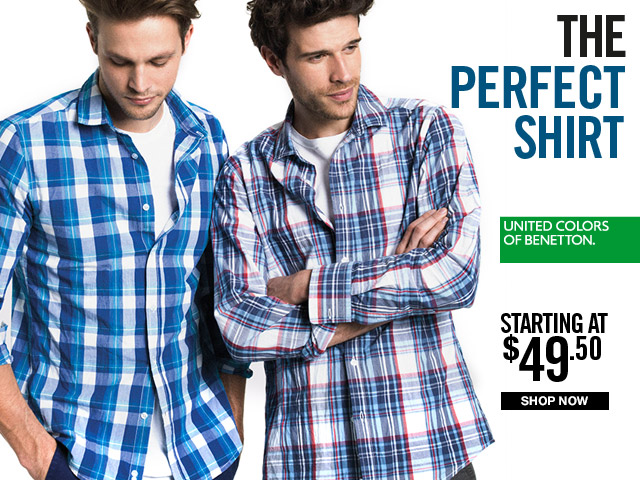Men will find the Perfect Shirt at Benetton, just $49.50