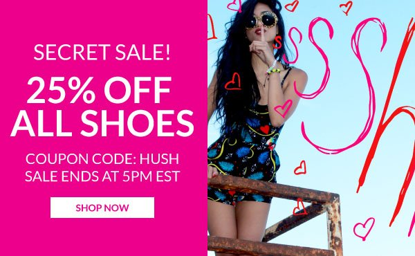 Save 25% Off the Entire Site with Coupon Code HUSH