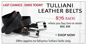LAST CHANCE - ENDS TODAY! TULLIANI LEATHER BELTS