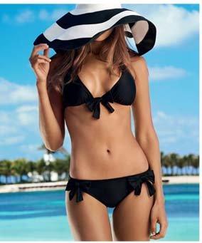 PilyQ Jet Black Bow Bikini