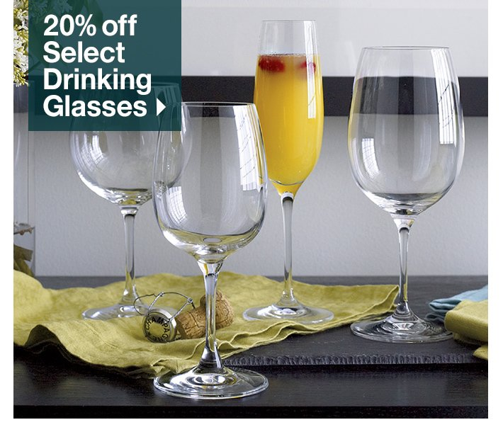20% off Select Drinking Glasses