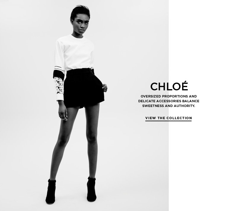 Feminine contrasts from Chloé Oversized proportions and delicate accessories balance sweetness and authority.