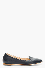 CHLOE Deep navy leather Scalloped Flats for women
