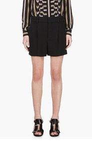 CHLOE Black Crepe Pleated Shorts for women