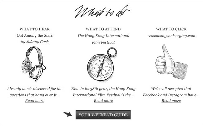 What to hear: Out among the stars by Johnny Cash. What to attend: The Hong Kong International Film Festival. What to click: reasonsmysoniscrying.com. Click here for your weekend guide