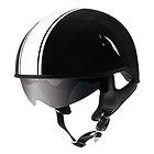 Outlaw V5-33 White Strip with Visor Motorcycle Half Helmet