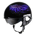 Outlaw V5-45 Purple Feathers with Visor Motorcycle Half Helmet