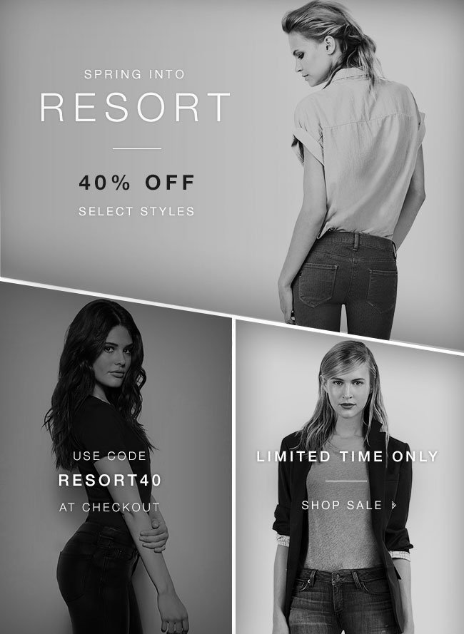 Enjoy 40% OFF select styles for Spring