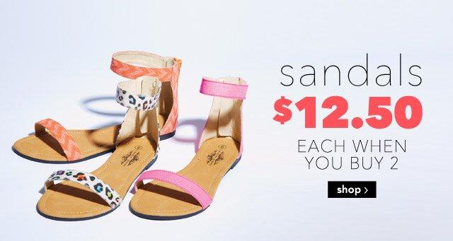 sandals $12.50