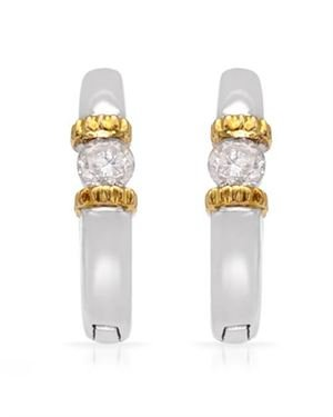Two tone Gold Earrings with 0.20 CTW Diamonds