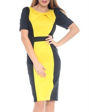 Street Vogue Color Block Short-Sleeved Dress Made In Europe