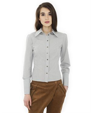Bliss Pinstriped Button-Up Shirt Made In Europe