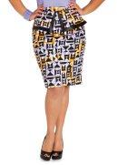 Geo Print Peplum Skirt
