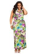 Floral Drape Neck Halter Maxi Dress