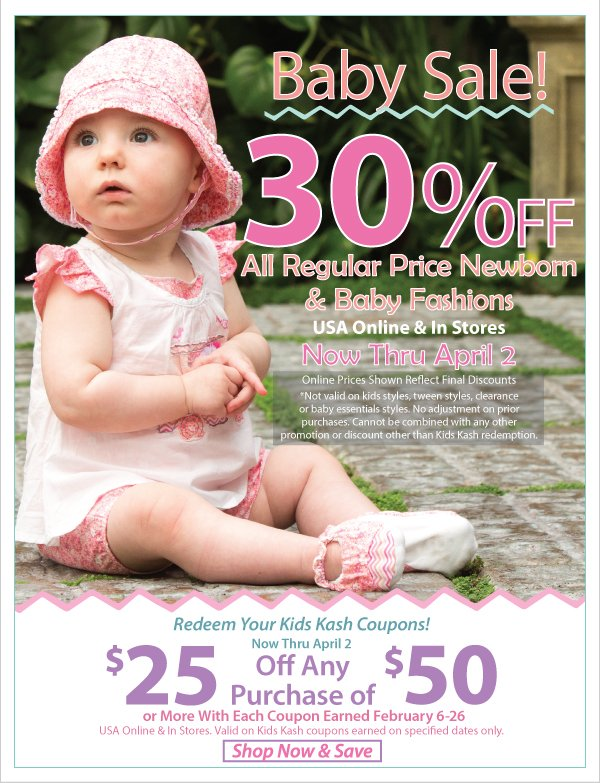 Oh Baby! 30% Off Regular Price Newborn & Baby Fashions + Kids Kash Coupon Redemption