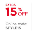 Extra 15% off | Online code: STYLE15