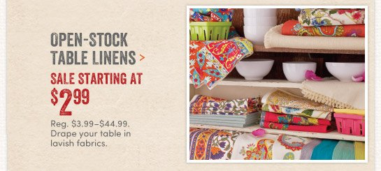 Open stock table linens