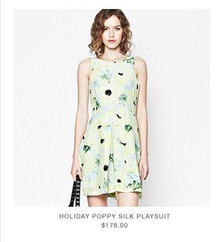 Holiday Poppy Silk Playsuit