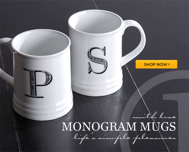 Shop Monogram Mugs Collection 					$5 (reg. $9.95) with purchase of 3 greeting cards