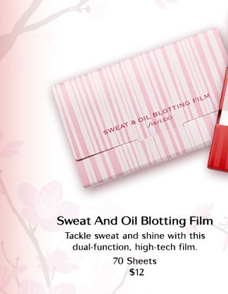 Sweat and Oil Blotting Film  Tackle sweat and shine with this dual-function, high-tech film.  70 Sheets $12