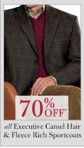 70% OFF* Executive Camel Hair Blazers & Fleece Rich Sportcoats
