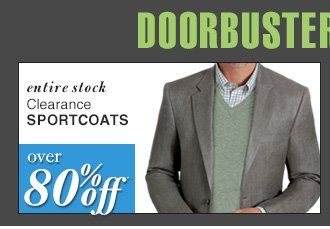 DOORBUSTER Clearance Sportcoats - over 75% Off*