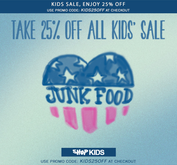 Take 25% off all kids' sale. Code KIDS25OFF.Shop Now at Junk Food Clothing Co.