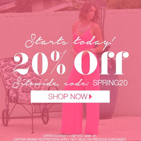 Take 20% off this weekend only. Code SPRING20.