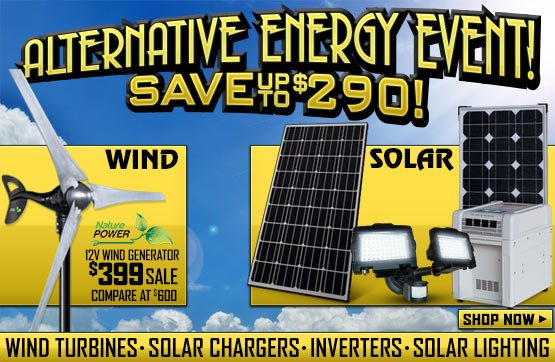 Sportsman's Guide's Solar & Alternative Energy Event! Save Up To $290!