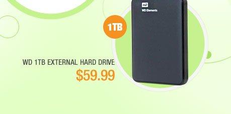 Western Digital Elements 1TB USB 3.0 External Hard Drive - Black