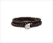 Exclusive Triple Wrap Ebony Bracelet With Diamond Fleur De Lis Tag