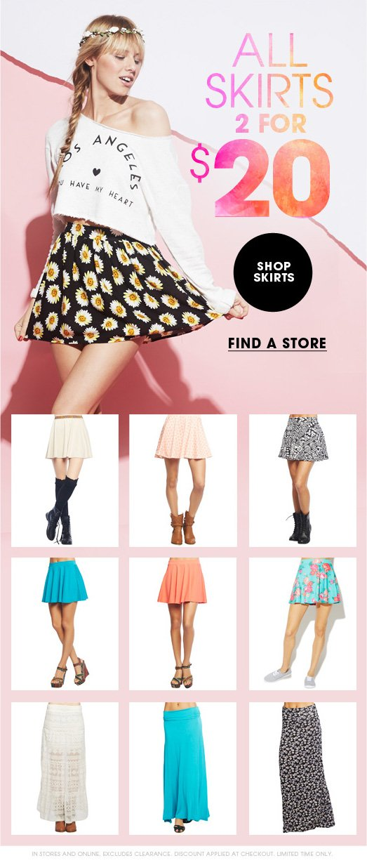 All Skirts 2 for $20
