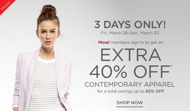 Up to 65% off Contemporary Apparel