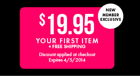 $19.95 Your First Item Plus Free Shipping