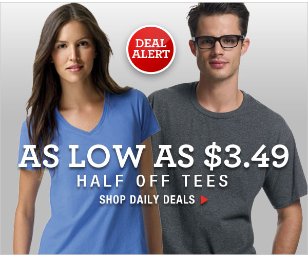 Daily Deals: Half Off Tees (as low as $3.49).