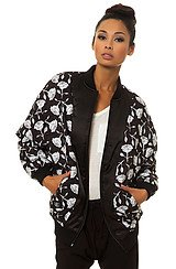 The Black Roses Quilted Bomber Jacket in Black