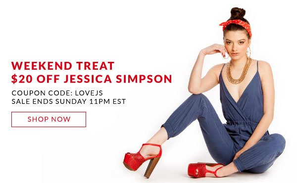 Save $20 Off All Jessica Simpson Shoes with Coupon Code LOVEJS